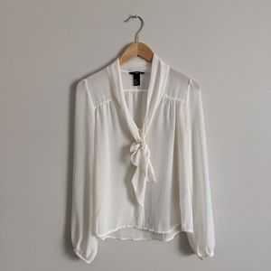 H&M Sheer Pussy Bow Blouse